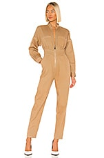 Divine Heritage Zip Closure Jumpsuit in Khaki