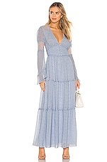 Divine Heritage Button Up Maxi Dress in Blue Skies