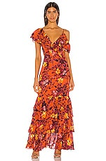 Divine Heritage Ruffle Tier Gown in Rust Vanishing Floral