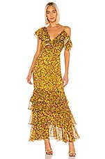 Divine Heritage Ruffle Tier Gown in Chartreuse Gypsy Rose