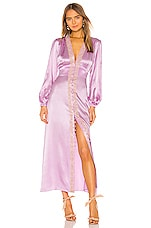 Divine Heritage Lace Trim V Neck Dress in Sweet Lilac & Tea Stain Lace