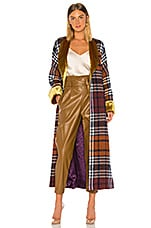 Divine Heritage Plaid and Yellow Velvet Cloak in Boysenberry Plaid