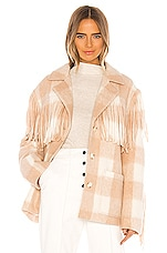 Divine Heritage Plaid Wool Fringe Jacket in Ivory & Nude
