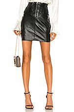 Divine Heritage Vegan Leather Moto Skirt in Black