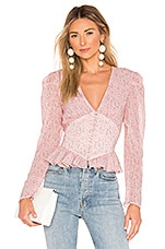 Divine Heritage Ruffle Waist Button Up in Rose Bud