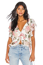 Divine Heritage Button Up Twist Back Blouse in Ivory