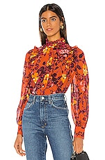 Divine Heritage Bib Front Ruffle Blouse in Rust Vanishing Floral