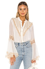 Divine Heritage Bell Sleeve Blouse in Ivory & Tea