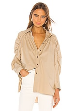 Divine Heritage Ruched Blouse in Khaki