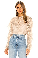 Divine Heritage Keyhole Back Ruffle Blouse in Tea Stain