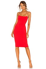 David Lerner Asymmetrical Strap Midi Dress in Poppy