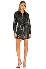 David Lerner Vegan Leather Shirt Dress in Black