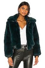 David Lerner Maverick Faux Fur Jacket in Jewel Green
