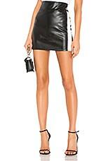David Lerner Side Stripe Mini Skirt in Classic Black & Nude & White Stripe