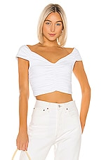 David Lerner Ruched Crop Top in White