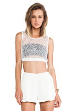 Con Slip Girl Tank in White Lace