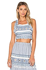 Yoav Crop Top in Blue & White