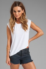 Silk Blend Asymmetrical Muscle Tee in White