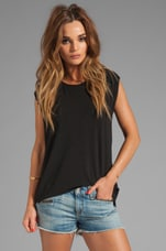 Silk Blend Asymmetrical Muscle Tee in Black