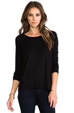 Long Sleeve High Low Tee in Black