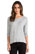 Long Sleeve High Low Tee in Silver