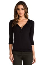 Long Sleeve Slim Fit Henley in Black