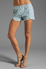 Rocky Floral Denim Short in Denim Blue