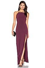 Donna Mizani Square Neck Maxi Dress in Aubergine