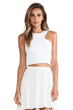 Racer Front Crop Top in White