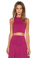 Frontal Panel Crop Top in Berry