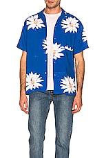 DOUBLE RAINBOUU Glossy Possy Print Shirt in Sea Blue