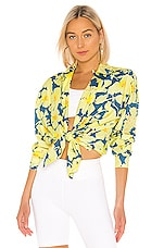 DOUBLE RAINBOUU Long Sleeve Hawaiian Shirt in Cloud Control Lemon
