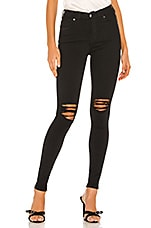 Dr. Denim Lexy Mid Rise Skinny in Black Ripped Knees
