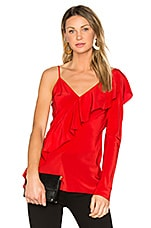 Ruffle Front Top in Dare Red