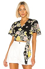 Diane von Furstenberg Sara Top in Floating Bouquet & Black
