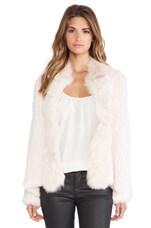 Bianca Rabbit and Coyote Fur Jacket in Boudoir Pink