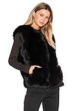 Helen Fox Fur Vest in Black