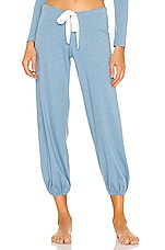 eberjey Heather Cropped Pant in Blue Shadow Blues