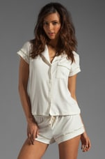 Miss Liberty Short PJ Top in Ivory/Lemon