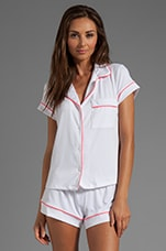 Gisele PJ's Top in White/Coral Glow