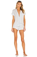 eberjey Gisele PJ Set in Water Blue & White