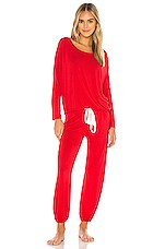 eberjey Gisele Slouchy Set in Haute Red & Ivory