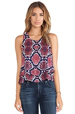 Monte Python Print Double Tank in Red, Purple & Royal