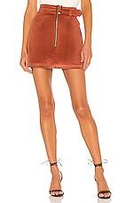 ELLEJAY Maddie Velvet Skirt in Rust