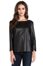 Sandra Faux Leather Long Sleeve Top in Black