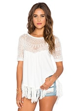 Sabrina Fringe Top in White
