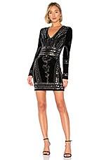 Endless Rose Stretch Velvet Embellished Dress in Black