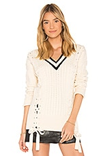 Endless Rose Lace Up Sweater in Ecru