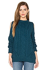 Endless Rose Cut Out Sleeve Sweater in Teal