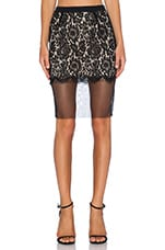 Lace Panel Skirt in Black